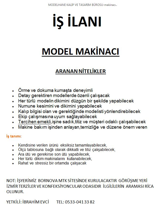 ACELE MODEL MAKİNACI ARANIYOR